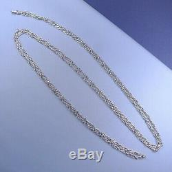 Victorian Sterling Silver Long Muff Guard Chain / Antique Necklace