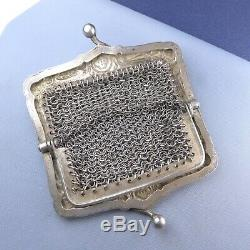 Victorian Sterling Silver Mesh Purse / Antique Chatelaine Wallet