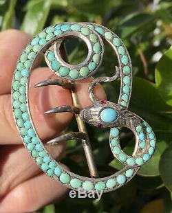 Victorian Sterling Silver & Persian Turquoise Coiled Snake Ruby Eyes Belt Buckle