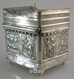 Victorian Sterling Silver Tea Caddy Box Stag Hunting Victorian 1901 Antique