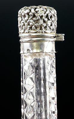 Victorian Sterling Topped Crystal Perfume Scent Bottle