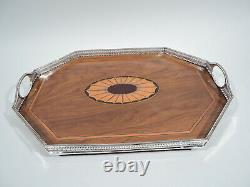 Victorian Tray Antique Regency Tea Marquetry English Sterling Silver Wood