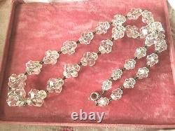 Vintage Jewellery Glass Bead Necklace Sterling Clasp Antique Victorian Jewelry