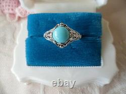 Vintage Jewellery Sterling Silver Ring Turquoise Antique Deco Jewelry size 10 U