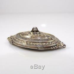 Vtg Antique Sterling Silver Sead Pearl Victorian Mourning Picture Pendant LFJ5