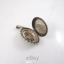 Vtg Antique Victorian English Sterling Silver Oval Locket Pendant LHA4