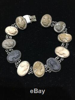 Vtg Antique Victorian Sterling Silver And Italian Lava Cameo Bracelet